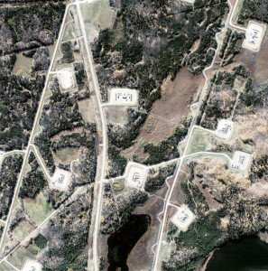 Aerial photo of well pads, before interpretation.