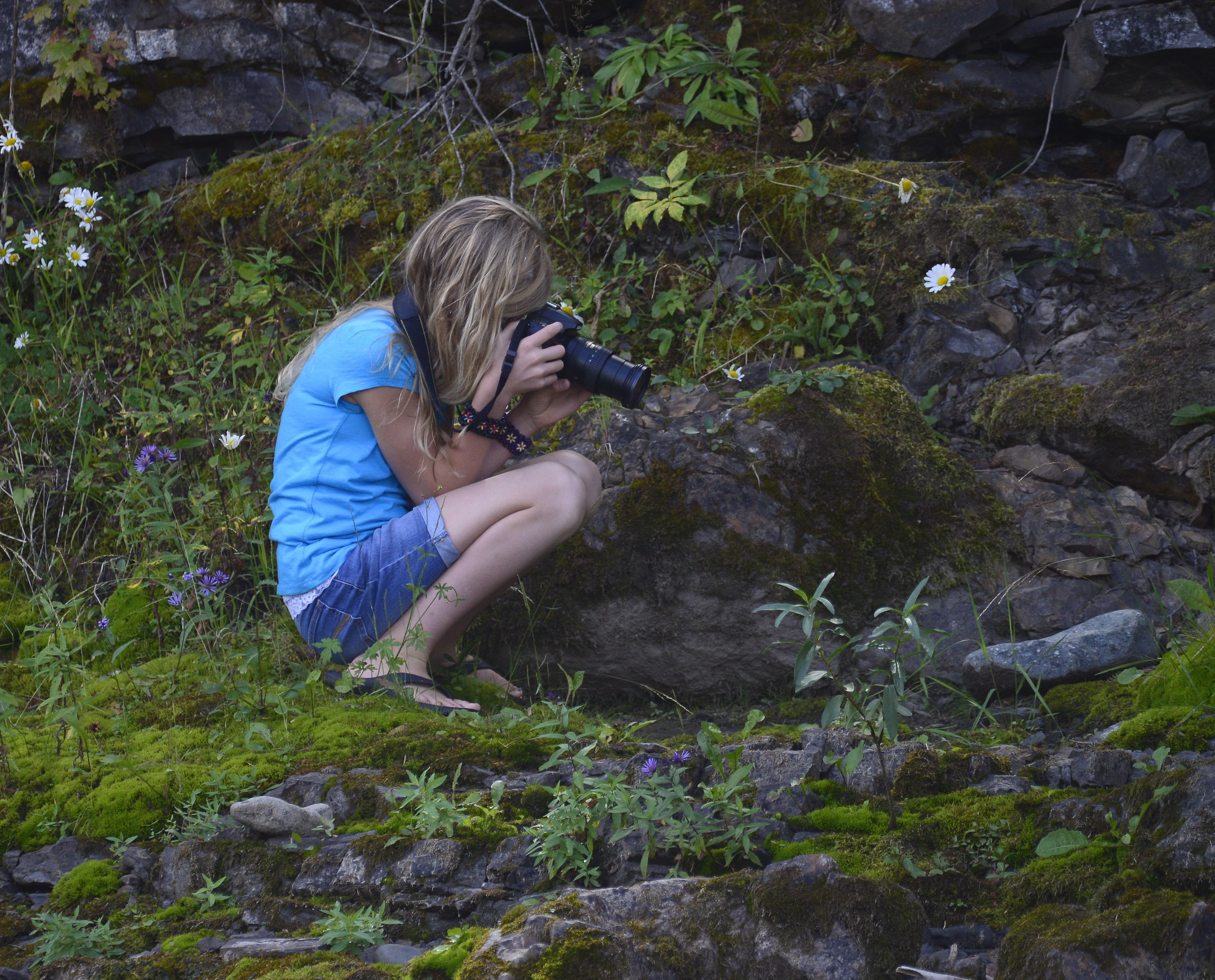 child s view of moss garden