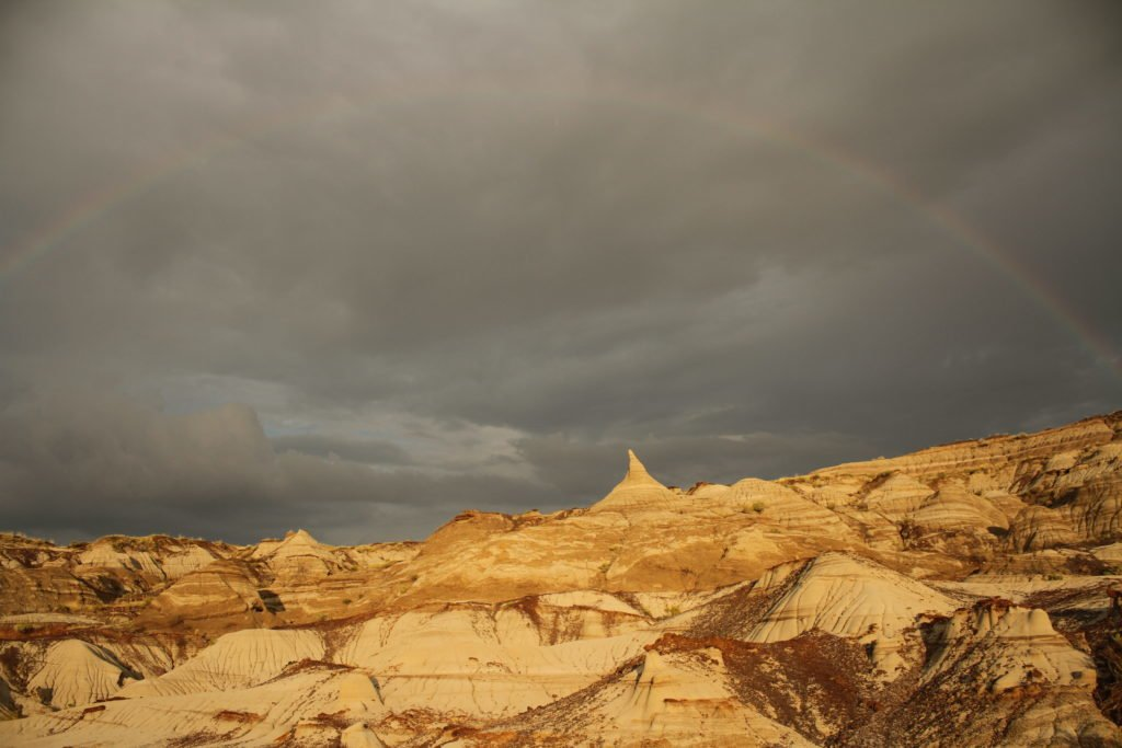 rainbow over the badlands