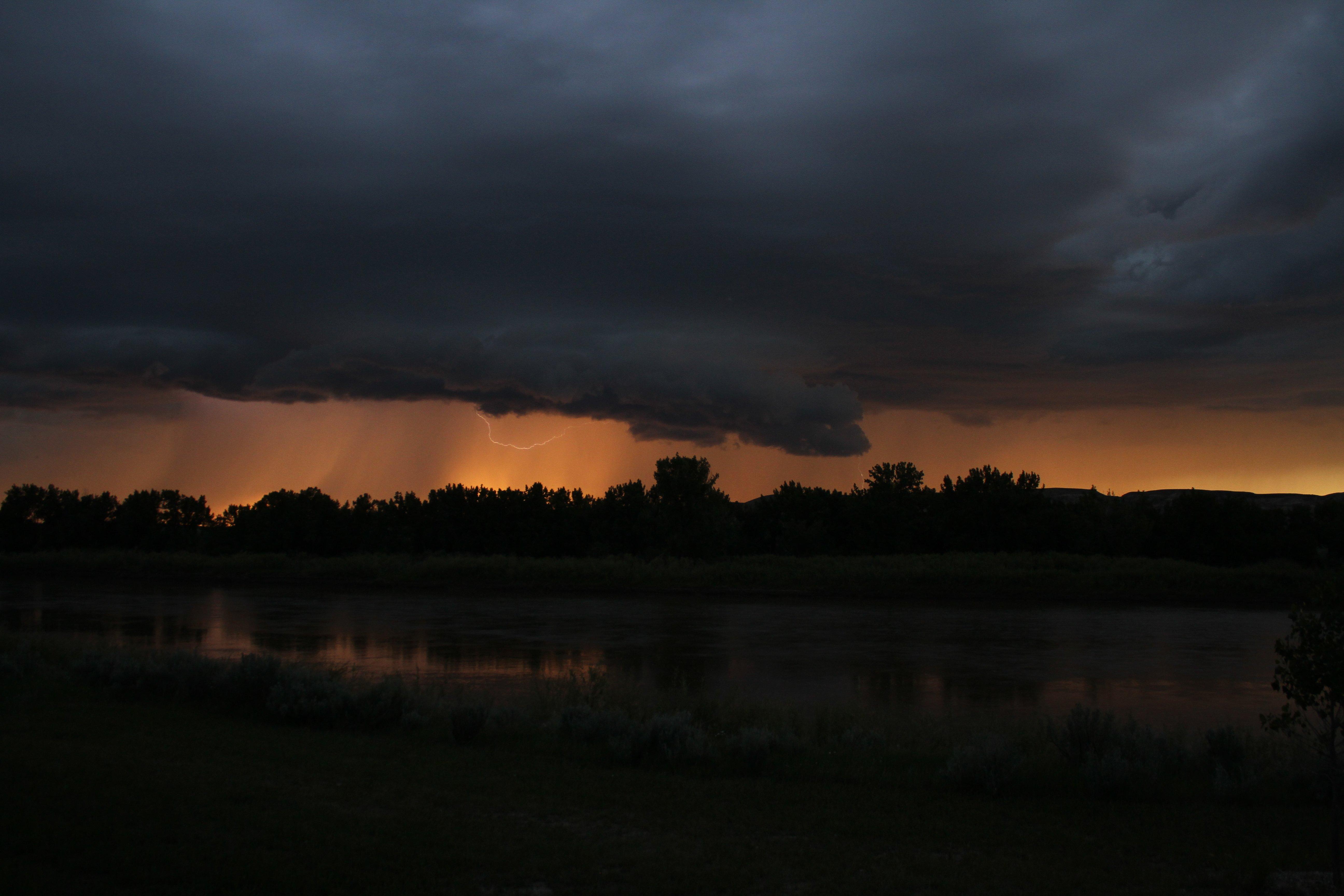 lightning at sunset